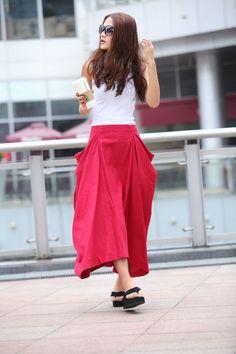 Maxi Skirt Lagenlook Big Pockets Big Sweep Long by Sophiaclothing, $59.99