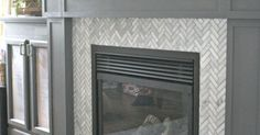 Fireplace makeover. Do I like the dark mantle? | New house | Pinterest | Herringbone, Marbles and Fireplaces