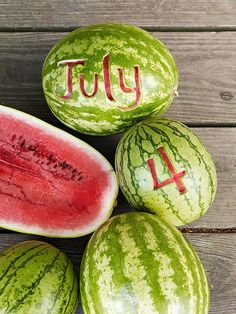 Make a statement with carved-out watermelon as party decorations! More easy 4th of July party ideas: http://www.bhg.com/holidays/july-4th/crafts/easy-fourth-of-july-party-ideas/?socsrc=bhgpin061313watermelon=1