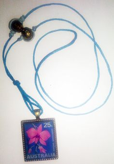Blue Australia Orchid Stamp in Bronze Frame and Blue by JERIVANN, $25.00 This is adorable!!! let me know if you want it, I know the seller!