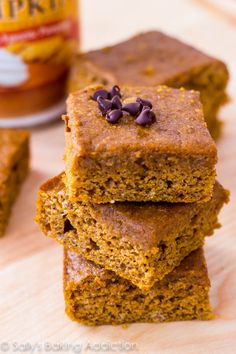 Lightened Up Pumpkin Spice Bars! Delicious any time of year and uses lighter ingredients. Mmm!