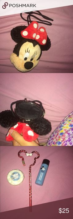 Items from Disney World Minnie Mouse on a drawstring to hang around your neck with change/$ holder. Minnie Mouse pencil , face soap & shampoo & conditioner. Items can be sold together or separately, make an offer Disney Accessories