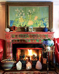 The amazing home of Gloria Vanderbilt featured in NYmag. The painting above the fireplace titled: Objects on Blue and Yellow was made in 1953 by Gloria Vanderbilt. Gloria Vanderbilt, Bohemian Interior, Bohemian Decor, Boho Chic, Boho Style, Bohemian Bedrooms, Bohemian Homes, Bohemian Design, Bohemian Living