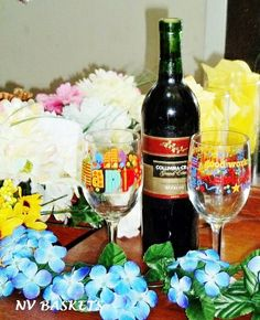 Birthday Wine gift includes Birthday wine glass Birthday Gift Baskets, Birthday Gifts, Flower Arrangements, Wine Glass, Table Decorations, Flowers, Birthday Presents, Floral Arrangements, Birthday Favors