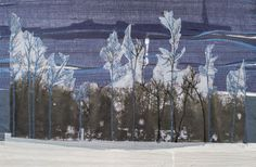 Mixed media with free motion stitching on paper and fabric-Winter trees (blue dome)