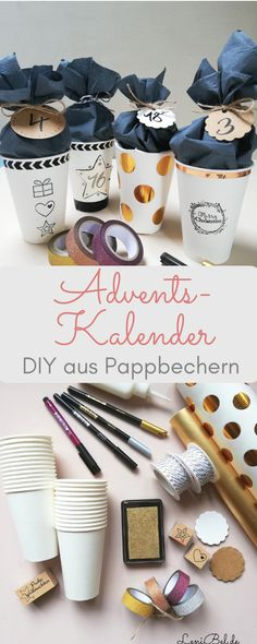Make DIY advent calendars from paper cups - LeniBel.de- DIY advent calendars made out of paper cups – individually and very easy to imitate. With lots of space to fill. The handicraft instructions are available LeniBel. Advent Calenders, Diy Advent Calendar, Diy Presents, Diy Gifts, Christmas Time, Christmas Crafts, Diy And Crafts, Crafts For Kids, Decor Crafts