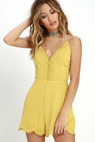 Your style will put a smile on all our faces in the Sun Beam Yellow Embroidered Romper! Pierced embroidery shapes a scalloped neckline and hem, traveling down the center of a princess-seamed triangle bodice. Adjustable spaghetti straps crisscross an open back above loose shorts. Hidden back zipper with clasp. As Seen On Aarika of @aarikagerette! #CuteDresses #TrendyTops, #FashionShoes #JuniorsClothing