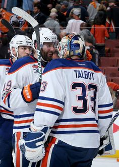 ANAHEIM, CA - APRIL 28: Patrick Maroon #19 and Cam Talbot #33 of the Edmonton Oilers celebrate the Oilers' 2-1 win against the Anaheim Ducks in Game Two of the Western Conference Second Round during the 2017 NHL Stanley Cup Playoffs at Honda Center on April 28, 2017 in Anaheim, California. (Photo by Debora Robinson/NHLI via Getty Images)