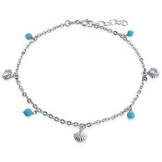 Bling Jewelry Bling Jewelry Reconstituted Turquoise Bead Seashell... (27 CAD) ❤ liked on Polyvore featuring jewelry, bracelets, blue, shell bangles, colorful bangles, tri color bangles, beach anklets and ankle bracelets