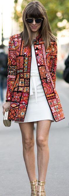 Margo & Me Embellished Jacket Ss16 Pfw Streetstyle Inspo | Mirror Ideas, Mirror Mirror, Woman Fashion, Gypsy, Street Style, Coat, Jackets, My Style, Google Search