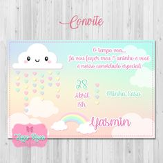 Convite digital Chuva de Amor One Year Birthday, Clouds, Invitations, Party, Baby Showers, Ideas, Invitation Ideas, Invitation Birthday, Cloud Party
