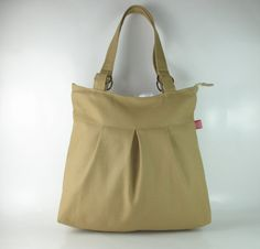 Purse, Double Straps, Pleated Bag, Khaki, For Women, Gift, Daily Use, Diaper Bag, Zip Closed by hippirhino