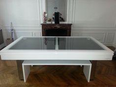 billard table design plateau verre et banc