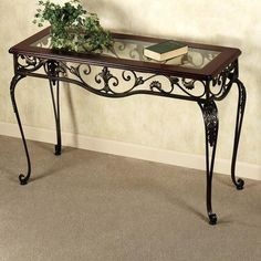 For vanity? Europe and Europe-style wrought iron table seven exquisite coffee table side tables Console Tables vintage wood desk without glass from Coffee Table on Tobigmall.com
