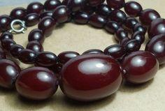 "Estate Art Deco Cherry Amber Bakelite 27"" Graduated Bead Sterling Ring Necklace"