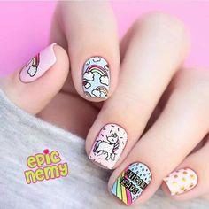 cute unicorn nails for kids ~ nails kids cute ` nails kids cute easy ` cute nails for kids ` kids nail designs cute ` nails for kids cute short ` kids nails cute simple ` cute unicorn nails for kids ` cute acrylic nails for kids Unicorn Nails Designs, Unicorn Nail Art, Cute Nail Art, Cute Nails, My Nails, Nails For Kids, Girls Nails, Nail Art Kids, Tumblr Nail Art