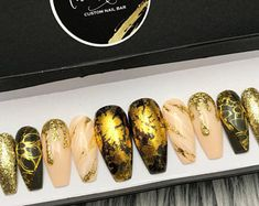 Olive Green Nude Gold Foil Glitter Marble Press On Nails | Any Shape | Fake Nails | False Nails | Glue On Nails