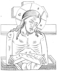 Christus Man van Smarten Religious Icons, Religious Art, Line Drawing, Painting & Drawing, Adult Coloring Pages, Coloring Books, Medieval Tapestry, Byzantine Icons, Orthodox Icons