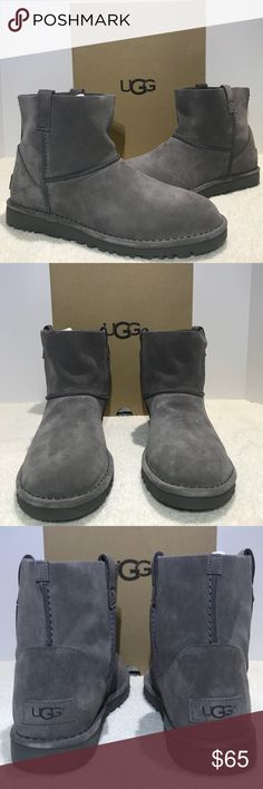 UGG Classic Unlined Mini Boot Charcoal Gray Suede Brand new in box Authentic UGG Classic Unlined Mini Boot Color Charcoal Gray Suede Women's Size 11. See pictures for detail. If you have any questions don't hesitate to ask. I will get back to you as soon as possible.   Thank you UGG Shoes Ankle Boots & Booties