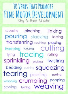 30 Verbs That Promote Fine Motor Development Printable - Stay At Home Educator - with this list you have instant inspiration for activities Preschool Fine Motor Skills, Motor Skills Activities, Preschool Learning Activities, Preschool At Home, Gross Motor Skills, Therapy Activities, Preschool Winter, Sensory Activities, Kindergarten Classroom