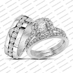 Women's Solitaire With Accents Trio Ring White Gold Fn 925 Silver Rd Sim Diamond #br925silverczjewelry