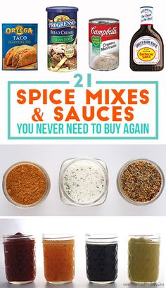 21 Spice Mixes and Sauces You Never Have to Buy Again. (Just make them yourself!) Check out this list of 21 spice mixes & sauces you never need to buy again! Homemade Spices, Homemade Seasonings, Homemade Dry Mixes, Homemade Food, Chutneys, Sauce Recipes, Cooking Recipes, Cooking Tips, Cooking Photos