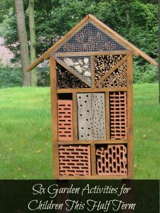 Insect house. Exploring nature and outdoors with children. Unusual children's gardens. Garden activities for children