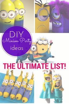 This ultimate list of DIY minion party ideas includes food & drink, games & activities, favours, costumes & links to tons of free printables!