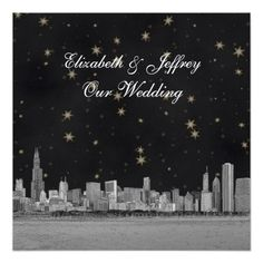 Chicago Skyline Black Gold Star SQ Wedding Announcements