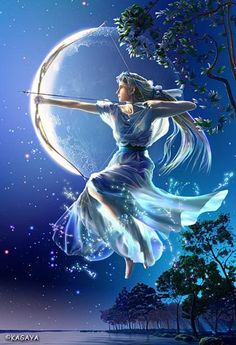 Artemis was the Goddess of the Hunt and the Goddess of the Moon in Greek mythology. Fantasy World, Fantasy Art, Camp Half Blood Cabins, Sagittarius Art, Elfa, Fable, Heroes Of Olympus, Greek Gods, Gods And Goddesses