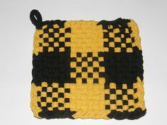 100 Cotton Loop Kitchen Potholder Black Yellow | eBay