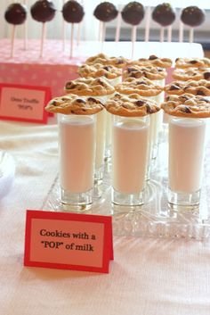 shot glass of milk and a classic chocolate chip cookie...fabulous display idea!