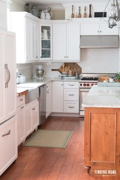 White and Wood Farmhouse Kitchen @findinghome