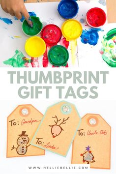 Have your kids make these simple Christmas gift tags. Check out all the fun different materials you can use to make these adorable tags. #Thumbprint #Kidscrafts #Gifttags Best Christmas Gifts, Simple Christmas, Holiday Gifts, Christmas Crafts, Easy Gifts, Creative Gifts, Homemade Gift Tags, Giant Bow, Thumb Prints