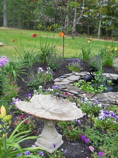 A tranquil place.  With a fish pound and bird bath the kitties would be very busy!