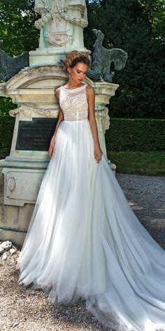 crystal design 2018 wedding dresses lace bateau neckline straight sleeveless style buffy #weddingdress
