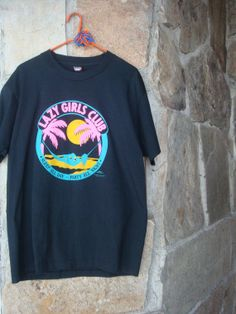 "80s PUFF PAINT SHIRT vintage neon oversized t-shirt ""Lazy Girls Club"" xl"