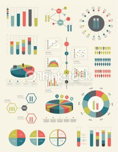 Flat Infographic Collection Of Charts Graphs Speech Bubbles Schemes Diagrams… Graph Design, Chart Design, Bubble Diagram, Pamphlet Design, Powerpoint Design Templates, Powerpoint Charts, Urban Design Diagram, Infographic Resume, Charts And Graphs