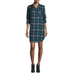 Rails Bianca Plaid Long-Sleeve Shirtdress ($94) ❤ liked on Polyvore featuring dresses, plaid dress, blue plaid dress, tartan dress, shirt dress and button front shirt dress