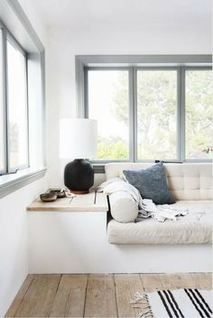 Window seat nook | Soft muted palette #wishtankworthy ♥