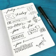 bohoberryblog:  Playing around with different header styles for my #bulletjournal in 2016 ☺️
