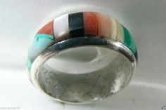 $145 spency but this is a rather fantastic ring   VTG Zuni Artist Signed Sterling Silver inlay multi color genuine stone ring band #ZUNI