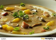 Czech Recipes, What To Cook, Cheeseburger Chowder, Soup Recipes, Food And Drink, Veggies, Lunch, Treats, Cooking