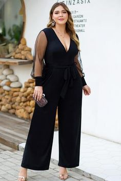 Size & FitOur model is wearing size XL/X ( US 14 ). size fashion for women Plus Size Mesh Insert Plunging Neck Jumpsuit Curvy Fashion, Girl Fashion, Fashion Outfits, Womens Fashion, Fashion Tips, Fashion Trends, Fashion Fashion, Fashion Ideas, Plus Size Fashion For Women