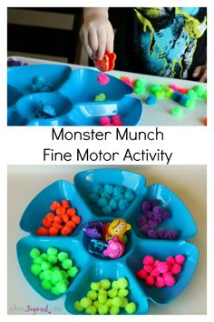 Monster fine motor activity for preschoolers and toddlers. A fun color recognition activity!