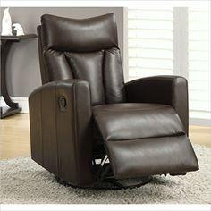 Monarch Specialties Dark Brown Bonded Leather Swivel Glider Recliner  http://www.furnituressale.com/monarch-specialties-dark-brown-bonded-leather-swivel-glider-recliner/