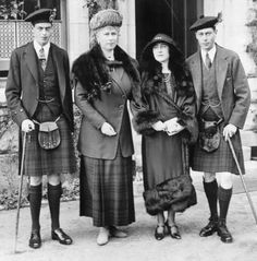 +~+~ Vintage Photograph ~+~+  Left to Right :  George, Duke of Kent  with his mother Queen Mary, Elizabeth, Duchess of York  and George Duke of York at Balmoral Castle in Scotland.