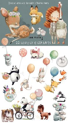 3 D Bilder 22 lovely characters by Eve_Farb Baby Illustration, Watercolor Illustration, Graphic Illustration, Watercolor Art, Animal Illustrations, Character Illustration, Digital Illustration, Disney Cartoons, Baby Art