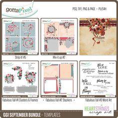 GGI September Bundle Templates :: Gotta Grab It :: Gotta Pixel Digital Scrapbook Store by HeartStrings Scrap Art