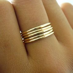 bdb059e7d1d6 Stack Ring Set 5 Polished Gold Band Stacking Ring Set Mix Sizes in Your Set  for Midi Rings Stackable Thumb Ring Set Gift 5 Golden Rings